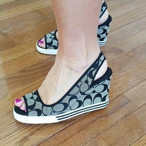 Coach Sydney Wedge Shoes Signature Black Size 7.5
